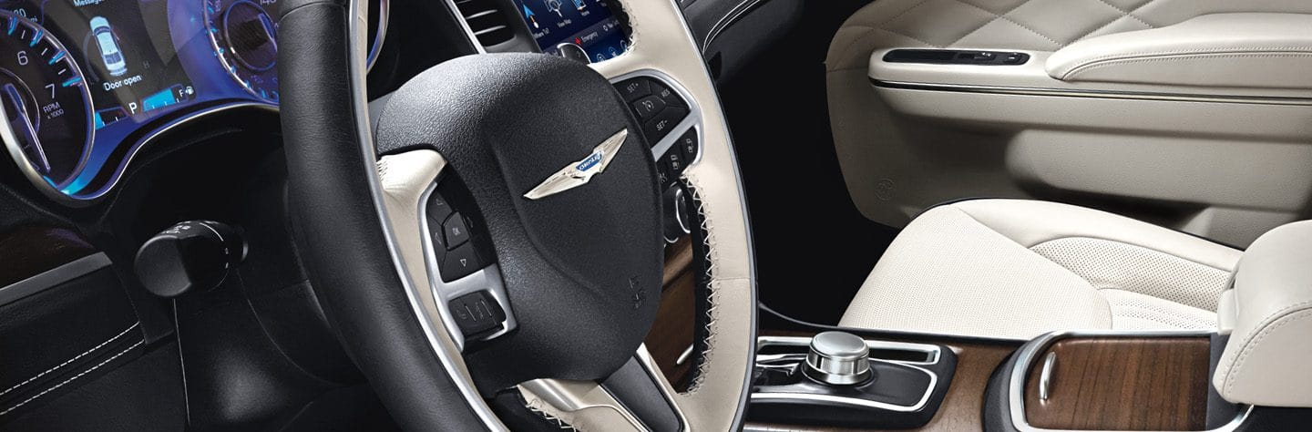 Close-up of steering wheel on the 2019 Chrysler 300S.