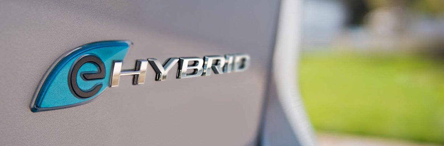 Closeup of the eHybrid badge on Chrysler Pacifica Hybrid.