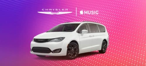 Chrysler logo. Apple CarPlay logo.