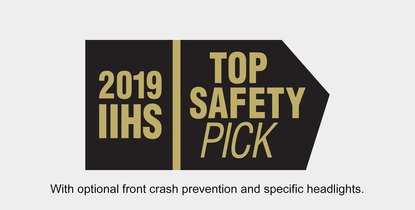Display 2019 IIHS Top Safety Pick logo. With optional front crash prevention and specific headlights.