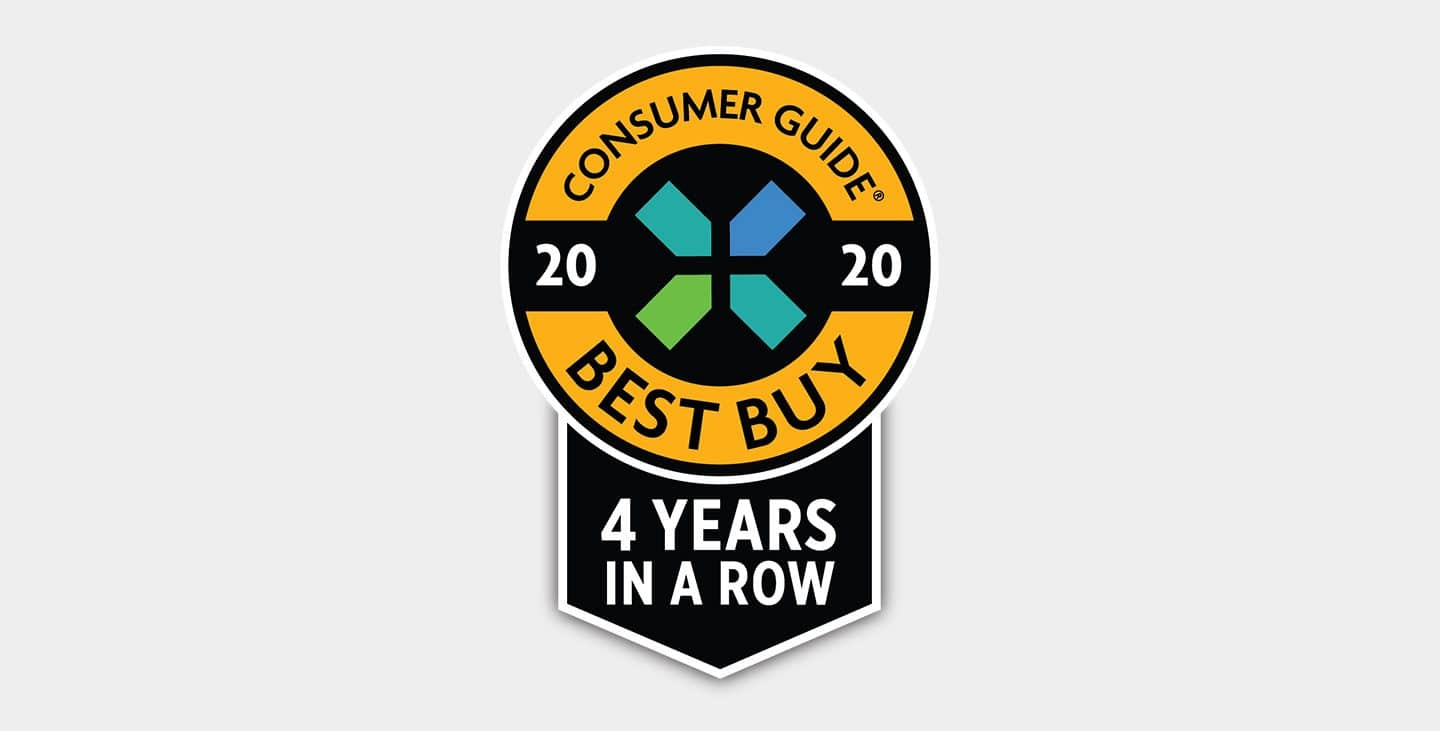 Display 2018 Consumer Guide Best Buy 3 Years in a Row logo.